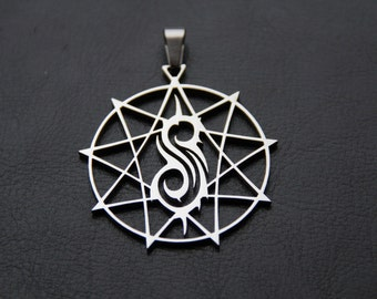 MIP-SLIPKNOT Nonagram STAR Polished Stainless Steel pendant w/30 inch ball chain
