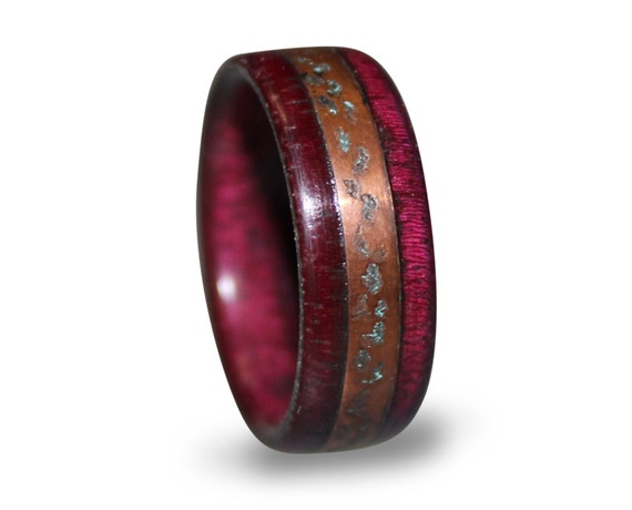 Purple heart ring amaranth wood wooden with patina