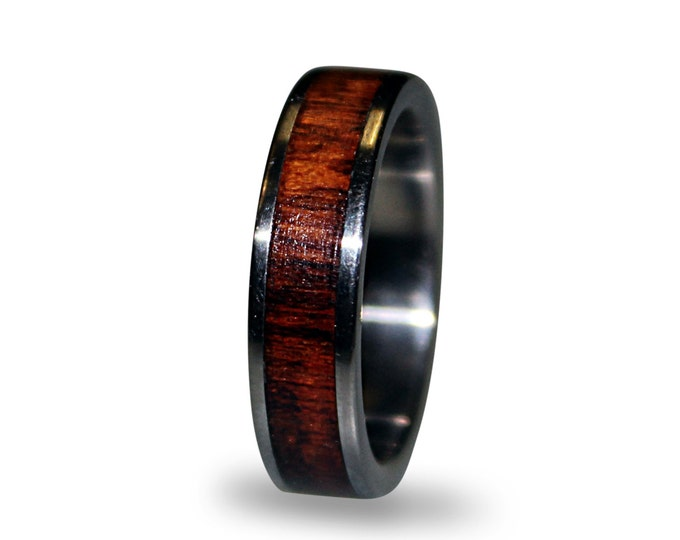 Titanium Ring With Snakewood Inlay, Wood Ring, Titanium Wedding Band, Mens Band