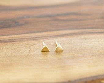 14KT Gold Triangle Stud Earrings
