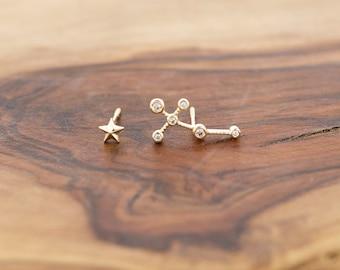 14KT Gold CZ Constellation Ear Crawler