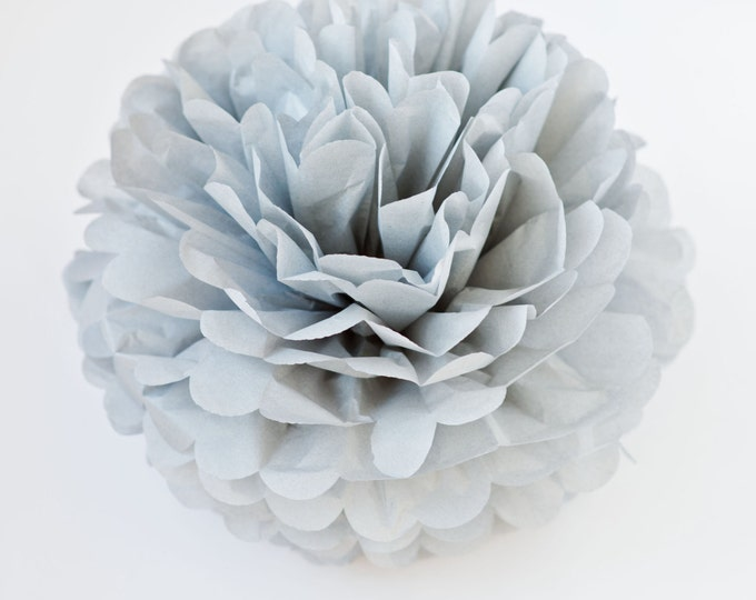 Grey Tissue Paper Pom, Grey Pom, Silver Tissue Paper Pom Pom, Silver Paper Flower, Tissue Flower, Wedding and Birthday Party Decor