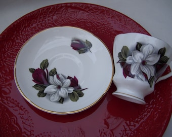 Burgundy Floral Teacup and Saucer,Consort Fine China,Made in England