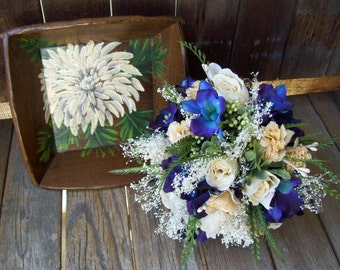Wood Stained Tray, Hand Painted Dahlia Flower