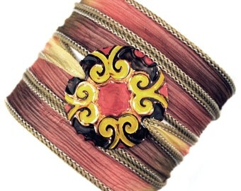 Yoga Silk wrap bracelet mandala