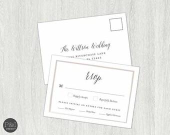 RSVP Card | Dinner RSVP |  Printable Digital File (3.5 x 5)