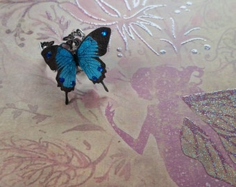 Magical Blue & Black 3D Butterfly Ring