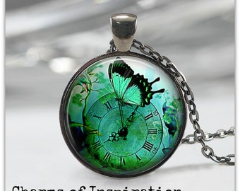 Butterfly necklace Teal Butterfly jewelry Clock Necklace Steampunk Pendant Jewelry 095