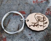 Your Child's Art Personalized Sketch Keychain or Necklace Custom Handwriting Child's Drawing Gift for Grandparents Mothers Day Fathers Day