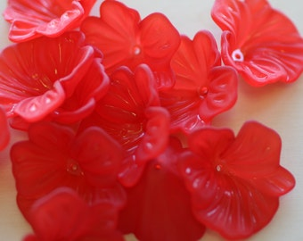 Acrylic Red Flower Beads