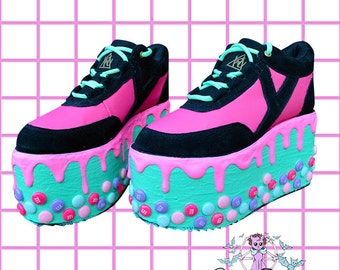 Candyholic  drippy platforms cupcake candy custom made shoes, Kawaii,cute,harajuku, alternative,decora, flatforms,edm