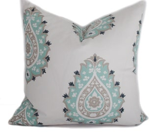 Pillow cover, 18x18, Blue pillow, Gray pillow, Throw pillow, Decorative pillow, Accent pillow, Blue cushion cover, Couch cushion
