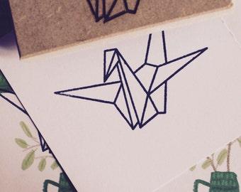 Stamp origami crane