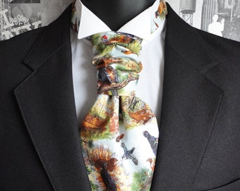 Scrunchy pre tied or self tie wedding cravat, Ascot, Pheasant print wedding cravat,