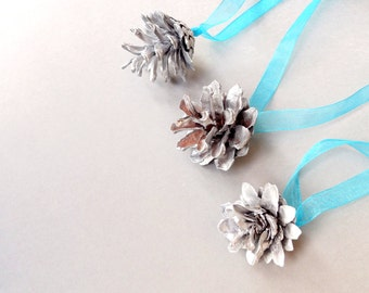 Silver Cones, Christmas tree decor, Cones, Home decor, Pine cones, Natural, Gold, Handpainting, Handmade, Gifts, Decoration