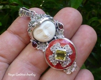 Silver and Red Coral Gemstone Goddess Pendant NG-1265