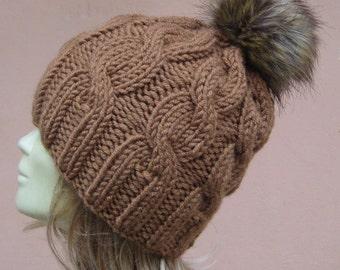 knit hat , knit beanie , slouchy beanie , women hat , cable beanie , chunky beanie , knit beanie , pom pom hat , faux fur pom pom beanie