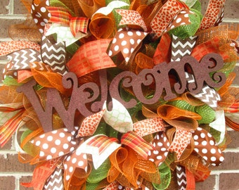 Fall Wreath, Fall Door Wreath, Fall Welcome Wreath, Fall Mesh Wreath, Autumn Wreath, Autumn Mesh Wreath, Autumn Door Wreath