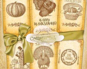 Thanksgiving Digital Paper Cipart Large Hang Favor Tags Labels Bookmarks Digital Collage Sheet Thanksgiving Decor Decorations