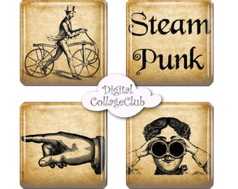 Steampunk Jewelry Images Steampunk Art Decor 1 x 1  Scrabble Tiles 1 inch Square Digital Collage Sheet Images for Pendants
