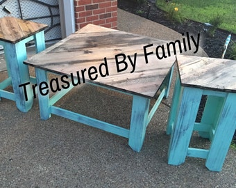 Distressed Turqouise With Barnwood Primitive Coffee table end table set