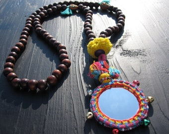Indian Mirror Necklace, Boho, Hippie Chic