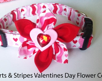 Valentine's Day Flower Collar with Hearts & Stripes