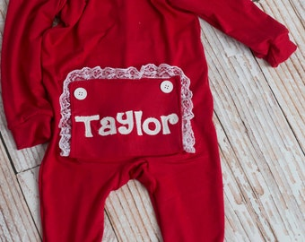 Christmas Photo Prop Little Girl's Personalized Long John Pajamas with Bottom Flap
