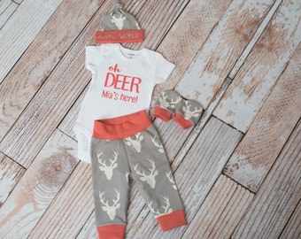 Baby Deer Antlers/Horns Bodysuit, Hat, Scratch Mittens Set with Grey and Coral+Personalized Oh Deer Bodysuit Newborn Coming Home
