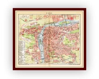 PRAGUE Original map 1904 detailed Czech Republic