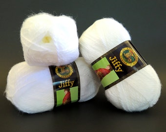 3 White Jiffy Yarn Lion Brand Mohair Look Craft Supplies