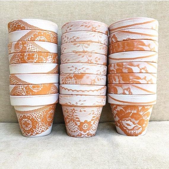 Items Similar To MINI Pots 3 Inch Planters Lace Painted Flower Pots Wedding Favor Succulent