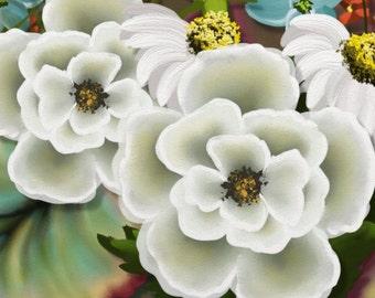 "Original digital floral painting print ""White Flowers"" Large white flowers in a square painting."