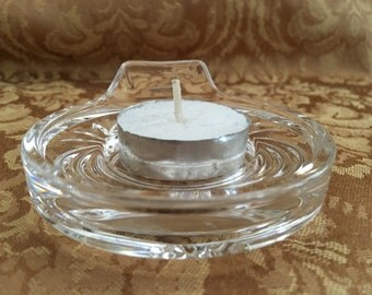 RCR Crystal Tealight Holder, Royal Crystal Rock Candle Holder, Aurea Pattern, Ribs and Arches, Lead Crystal Tealight Holder