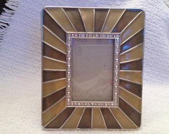 Enameled Art Deco Style Photo Frame, Silver with Rhinestones, Easel Mount, Black Velvet Back, Art Deco Frame
