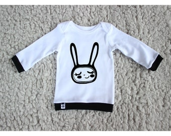 Trendy Baby / Modern Baby Shirt / Infant lap tee / Infant Shirt / Monochrome Baby / Bunny baby shirt / baby shower gift /