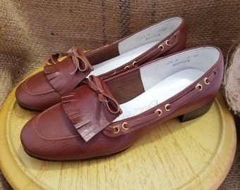 Vintage Saks Fifth Avenue Brown Leather Slip-On Loafers, Size 5.5B