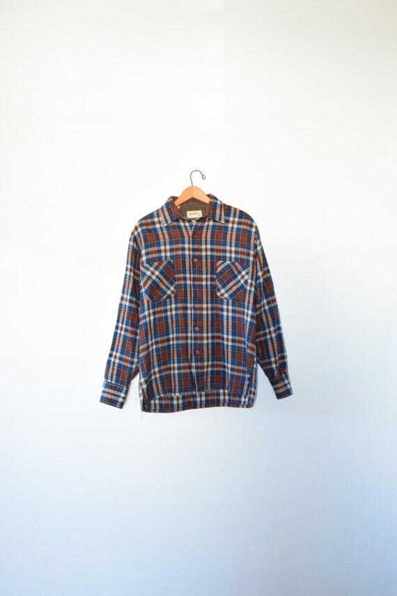 Heavy 80s plaid flannel size men 39 s medium 1980s for Heavy plaid flannel shirt