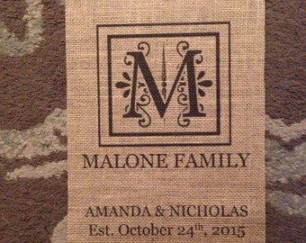 Personalized Last Name - Initial - Est. Date - Burlap Print - Wedding - Anniversary - Newlywed - Gift