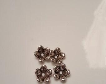 Antique Silver Detailed  Flower Bead Caps 10 X 3mm 20pcs