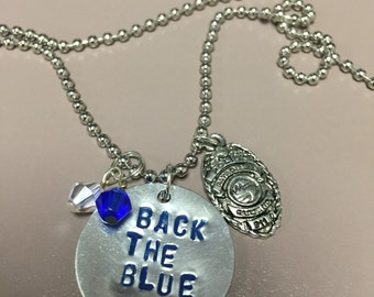 Hand Stamped Police/Back the Blue Charm Necklace