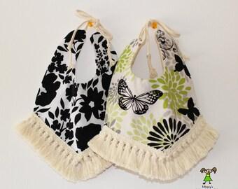 Baby girl bib,fashion/boho/floral/butterfly baby girl bib, drool bib-black,green