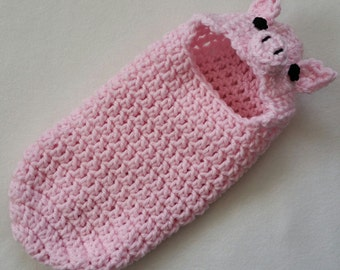 Crochet Pattern, Newborn Hooded Cocoon, Pod, Pig, Piggy, Instant Download