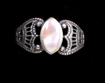 Early Sterling Silver Scroll w Pink Stone Ring