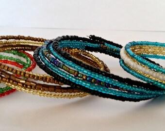 Memory wire bracelet. Multi colored seed beads. You choose. wrap bracelet.