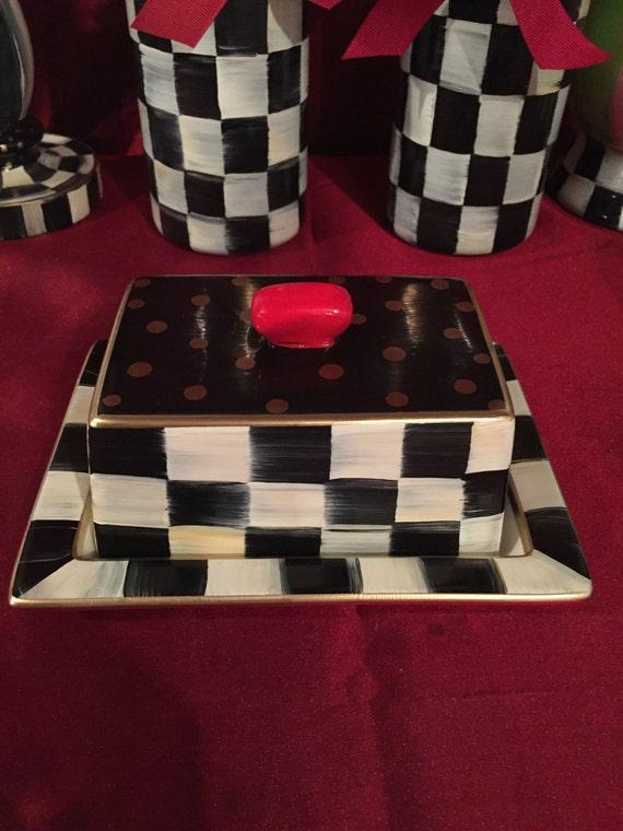 Black And White Checkered Ceramic Butter Dish
