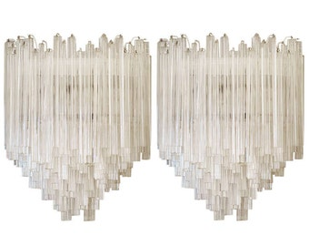 Clear Triedro Murano glass Wall sconces