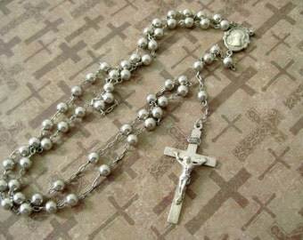 Vintage Sterling Silver Rosary / Swift and Fisher Catholic Rosary /  Crucifix / Madonna and Sacred Heart / Dominican Rosary