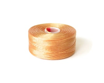 Tan Superlon (S-Lon) beading thread, S-Lon Tex45 size D, 1x bobbin, stringing material for jewelry making, bead supplies UK