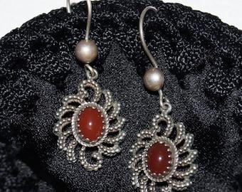 Old filigree carnelian earrings 835 silver